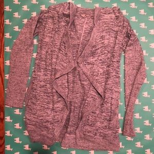 blue-gray, hooded cardigan WITH POCKETS!!